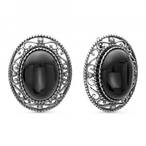 925 Sterling Silver pair earrings with synthetic agate