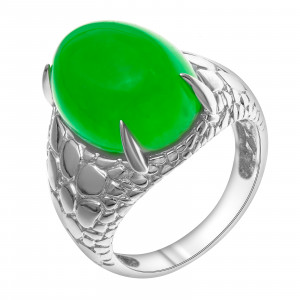 925 Sterling Silver women's rings with chrysoprase