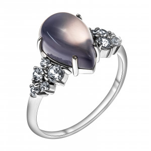 925 Sterling Silver women's rings with chalcedony and cubic zirconia
