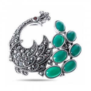925 Sterling Silver brooches with  and green agate