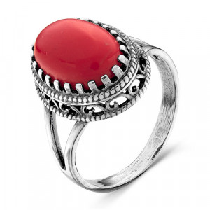 925 Sterling Silver women's rings with synthetic coral and synthetic corundum