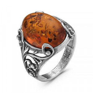 925 Sterling Silver women's rings with pink quartz and synthetic amber