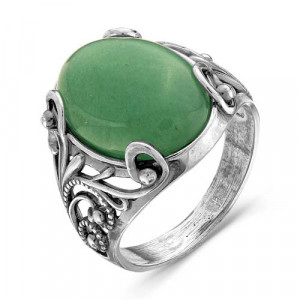 925 Sterling Silver women's rings with synthetic jade and cubic zirconia