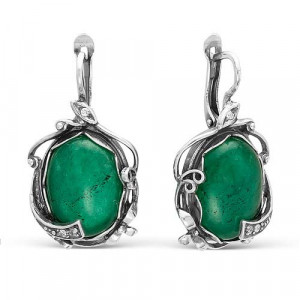 925 Sterling Silver pair earrings with synthetic jade and cubic zirconia