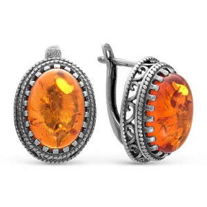 925 Sterling Silver pair earrings with  and synthetic amber