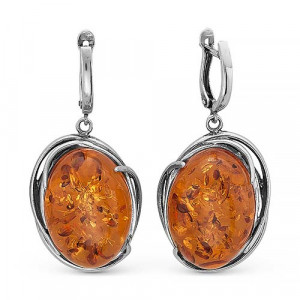 925 Sterling Silver pair earrings with synthetic amber and amber