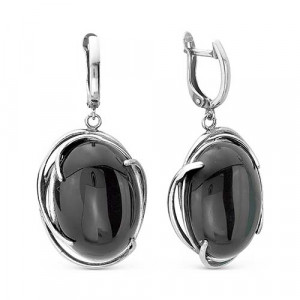 925 Sterling Silver pair earrings with  and synthetic agate