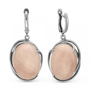 925 Sterling Silver pair earrings with synthetic quartz and pink quartz