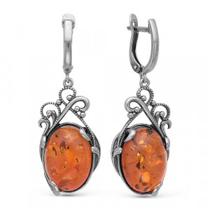 925 Sterling Silver pair earrings with synthetic amber