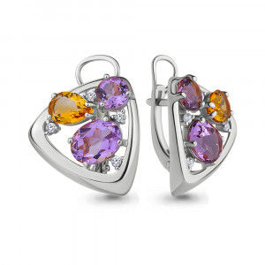 925 Sterling Silver pair earrings with citrine and amethyst