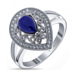 925 Sterling Silver women's rings with synthetic lapis