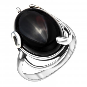 925 Sterling Silver women's rings with black agate and agate