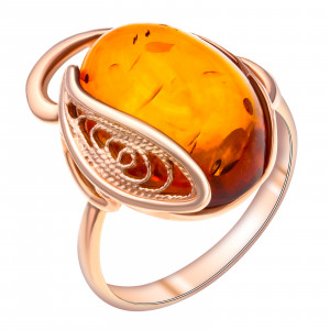 925 Sterling Silver women's ring with synthetic amber