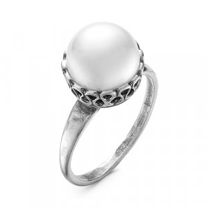 925 Sterling Silver women's ring with pearl imit.