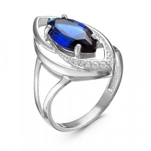 925 Sterling Silver women's rings with cubic zirconia and quartz pl. sapphire