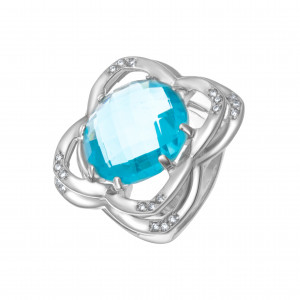 925 Sterling Silver women's rings with quartz pl. topaz