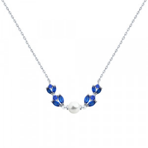 925 Sterling Silver necklaces with cubic zirconia and pearl imit.