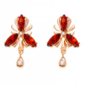 925 Sterling Silver pair earrings with amber