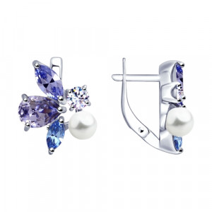 925 Sterling Silver pair earrings with pearl and pearl imit.