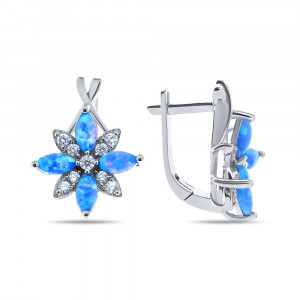 925 Sterling Silver pair earrings with synthetic blue opal