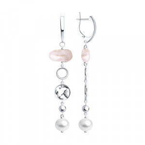 925 Sterling Silver pair earrings with pearl and baroque pearls