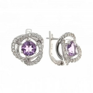 925 Sterling Silver pair earrings with cubic zirconia and amethyst