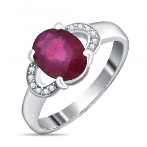 925 Sterling Silver women's rings with cubic zirconia and rubin