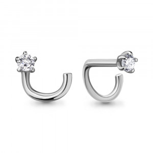 925 Sterling Silver piercing with cubic zirconia