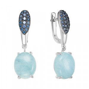 925 Sterling Silver pair earrings with cubic zirconia and aquamarine