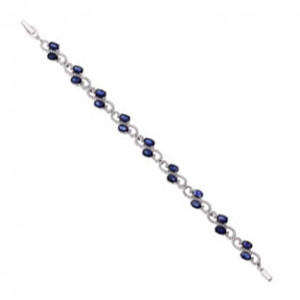 925 Sterling Silver bracelets with sapphire and cubic zirconia