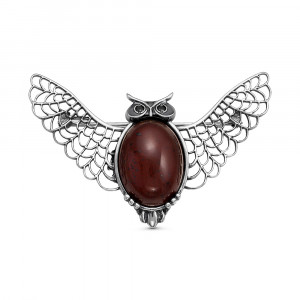925 Sterling Silver brooches with jasper and cubic zirconia