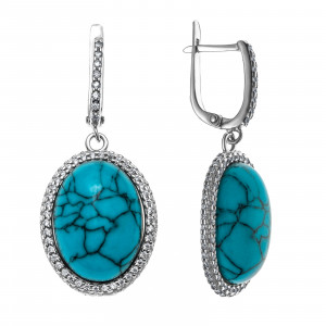 925 Sterling Silver pair earrings with cubic zirconia and turquoise