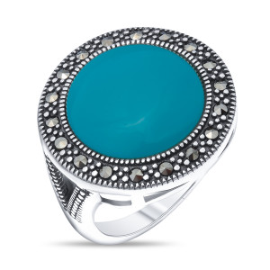 925 Sterling Silver women's rings with synthetic turquoise and marcasite