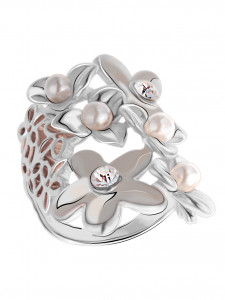 Bijuterii Alloy women's ring with enamel and pearl imit.