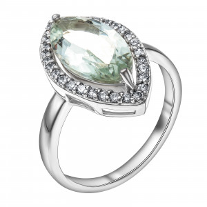925 Sterling Silver women's rings with praseolite