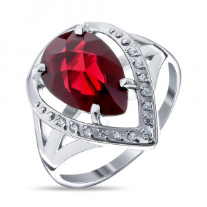 925 Sterling Silver women's ring with topaz and garnet