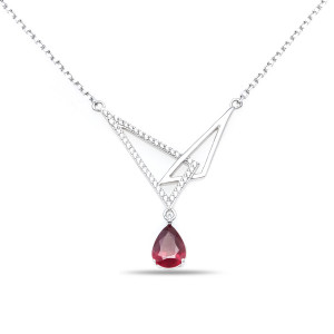 925 Sterling Silver necklaces with rubin and cubic zirconia
