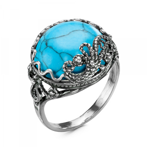 925 Sterling Silver women's rings with synthetic turquoise