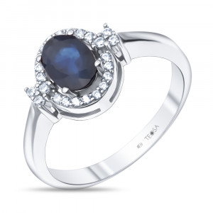 925 Sterling Silver women's rings with cubic zirconia and sapphire
