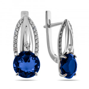 925 Sterling Silver pair earrings with synthetic corundum