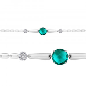 925 Sterling Silver bracelets with nano-tourmaline and cubic zirconia
