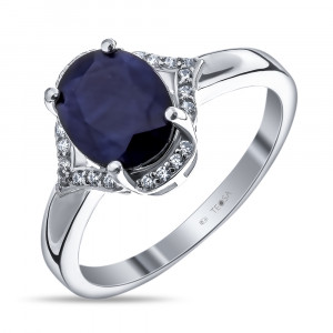 925 Sterling Silver women's rings with sapphire and