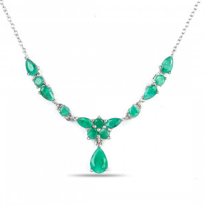 925 Sterling Silver necklaces with emerald and