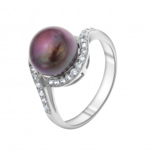 925 Sterling Silver women's ring with black cultivated pearls and cubic zirconia
