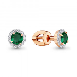 925 Sterling Silver pair earrings with nano emerald and emerald gt