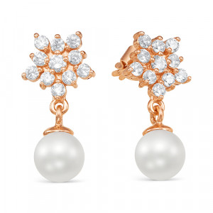 925 Sterling Silver pair earrings with pearl imit. and cubic zirconia