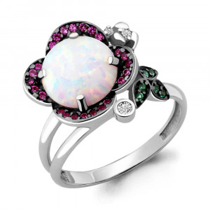 925 Sterling Silver women's rings with white opal and nano crystal