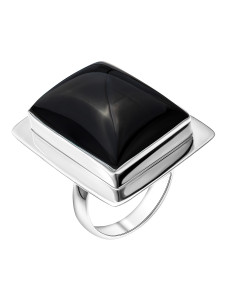 925 Sterling Silver women's ring with onyx