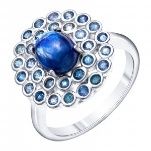 925 Sterling Silver women's rings with saphire star