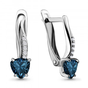 925 Sterling Silver pair earrings with london topaz and topaz